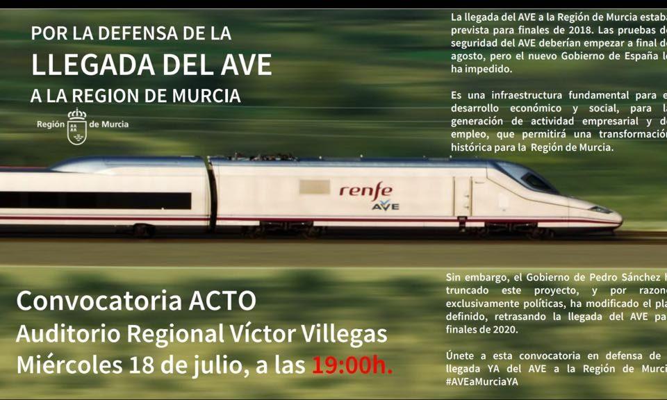 Acto en defensa de la llegada del AVE a la Región de Murcia