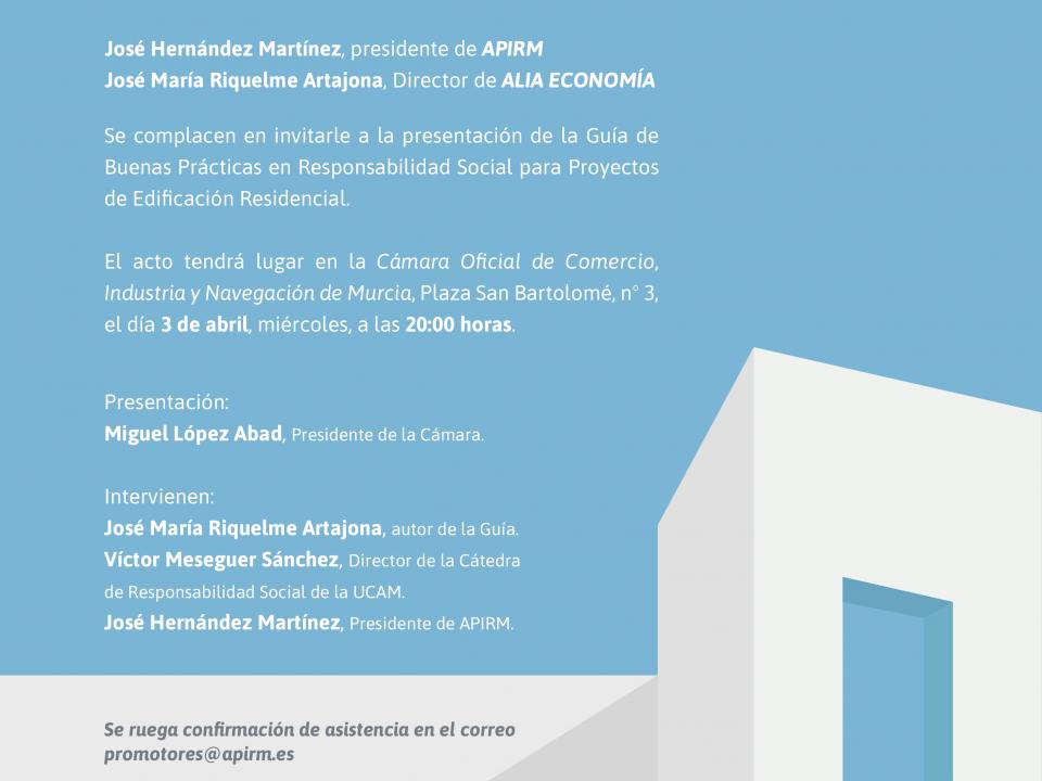 Presentación de la Guía de Buenas Prácticas en Responsabilidad Social para proyectos de edificación residencial