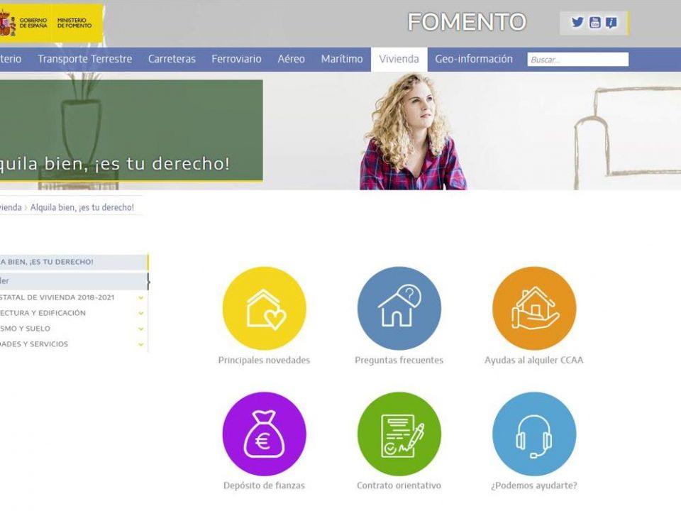 El Ministerio de Fomento pone en marcha una web sobre alquiler de vivienda